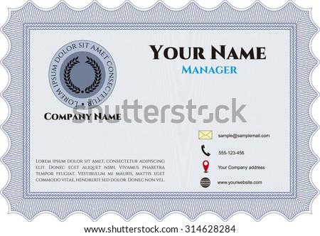 Vintage Style Business card. Border, frame.Easy to print. Artistry design.