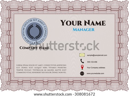 Vintage Style Business card. Easy to print. Nice design. Vector illustration.
