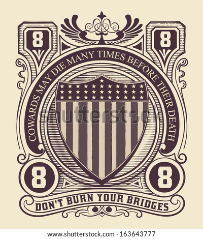 vintage style card with usa...