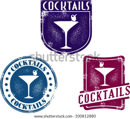 Vintage Style Cocktail Bar Stamps