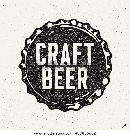 Vintage Style Craft Beer Sign. Ink stamp designs.