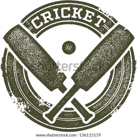 Vintage Style Cricket Sport Stamp