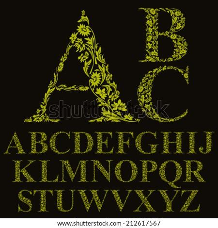 Vintage style floral letters font vector alphabet