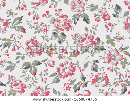 Vintage style floral seamless pattern design, shabby chic roses and peonies repeating background for web and print