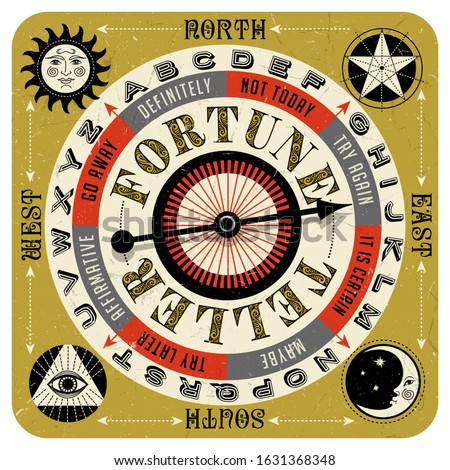Vintage style fortune teller spin game with spinning arrow, answers, letters and mystic symbols. Vector illustration for web pages, gaming, banners, print, board games.  Stock foto ©
