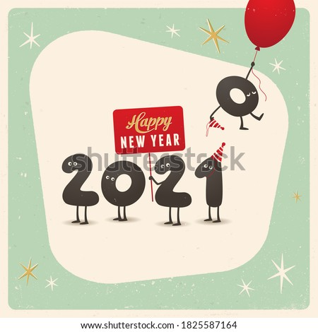 Vintage style funny greeting card - Happy New Year 2021 - Editable, grunge effects can be easily removed for a brand new, clean sign. Foto stock ©