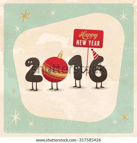 Vintage Style Funny Greeting Card - Happy New Year 2016 ...