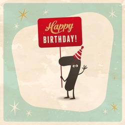 Vintage style funny 7th birthday Card  - Editable, grunge effects can be easily removed for a brand new, clean sign.