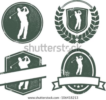 Vintage Style Golf Stamp Emblems - stock vector
