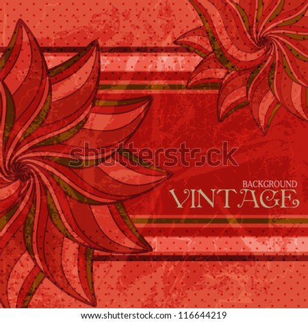 Vintage style greeting card with flowers and texture of old paper