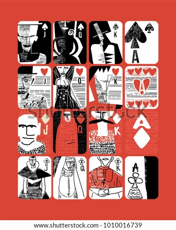 vintage style Hand drawn vector poster of playing cards. set of King, queen, jack , Clubs, hearts, Spades and Diamonds for casinos and playing houses interior