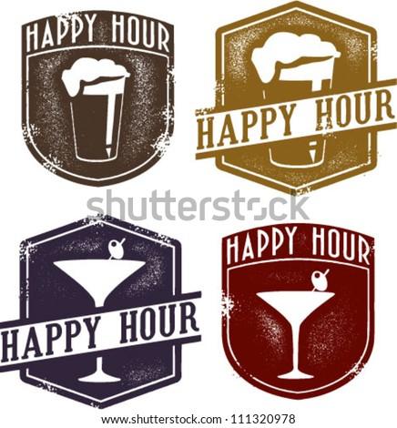 vintage style happy hour beer   ...