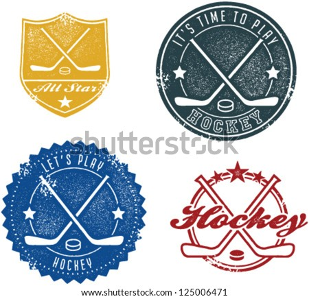 vintage style hockey stamps and