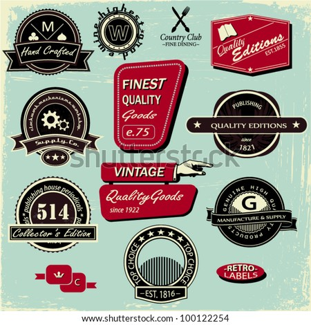 Vintage Style Labels, Set of 12 signs and badges