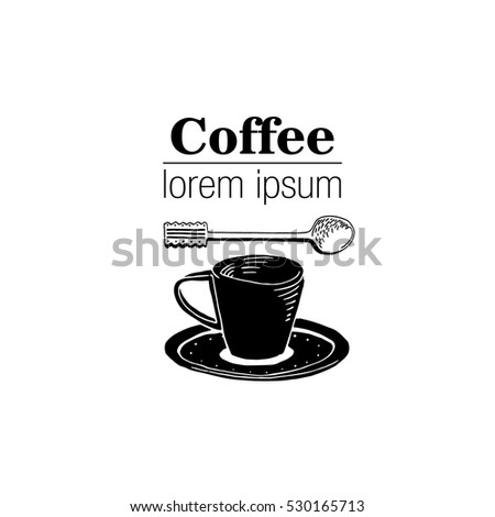 vintage style logo with coffee...