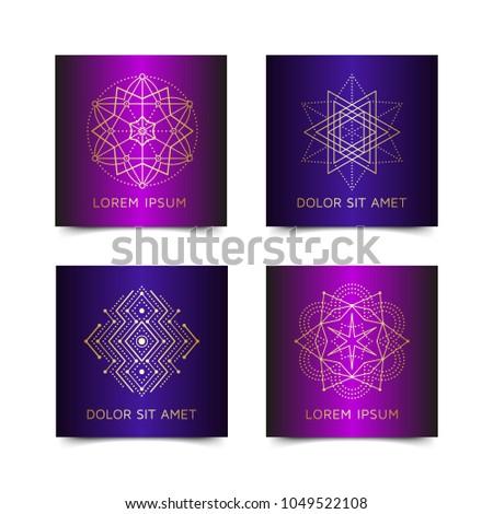 Vintage style metallic gradient flyer set inspired by sacred geometry. Blanks with golden sacral geometric occult cosmic signs. Line art gold logo design. Brochure pattern. Ornamental leaflet. EPS 10