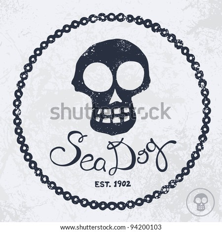 Vintage style nautical skull and text design - stock vector