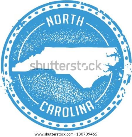 Vintage Style North Carolina USA State Stamp
