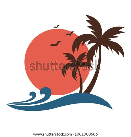Vintage style plam trees silhouette with sun and ocean waves