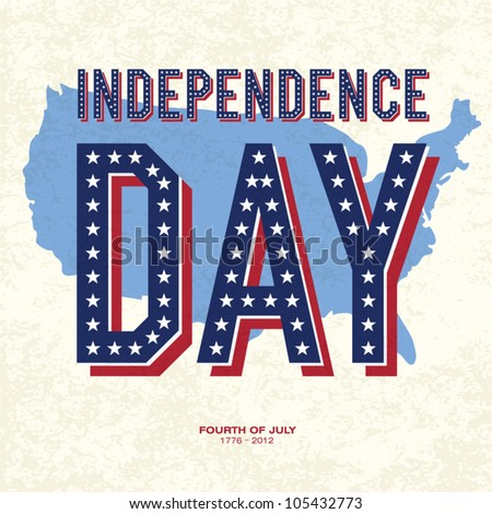 Vintage style Poster for Independence Day Celebration. Vector, EPS10 - stock vector