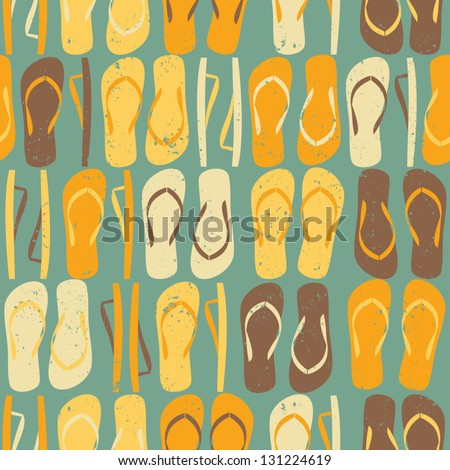 Vintage style seamless pattern with colorful flip flops. - stock vector
