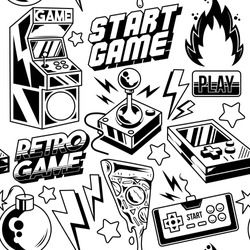 Vintage style seamless pattern with retro arcade machine, old game controller, retro 8 bit game joystick and game inscriptions. Vector print design illustration for textile, apparel, t-shirt, poster.