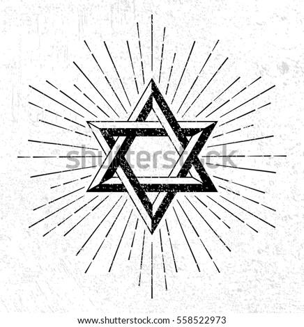 Vintage style star of David symbol with burst on grunge background