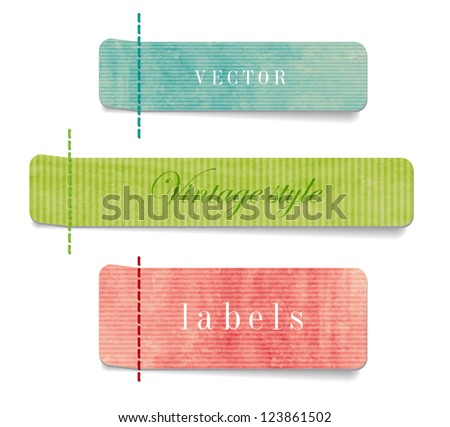 Vintage style textured colored paper cardboard labels