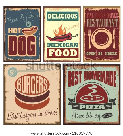 vintage style tin signs and...