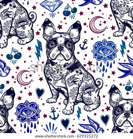 Vintage style traditional tattoo flash bulldog or pug dog seamless doodle pattern. Trendy stylish texture. Repeating old school tile, artwork for print and textiles. Isolated vector illustration.