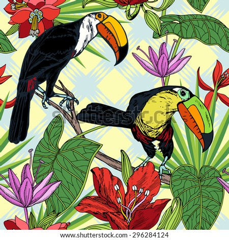 vintage style tropical birds