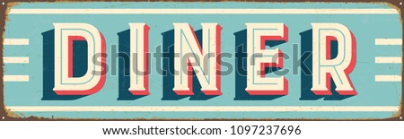 Vintage Style Vector Metal Sign - DINER - Grunge effects can be easily removed for a brand new, clean design. Stock photo ©