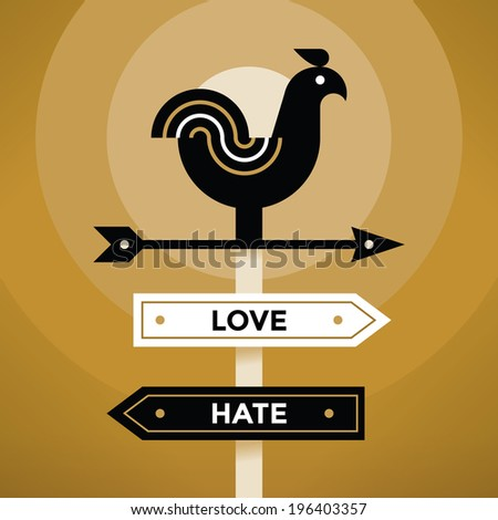 Vintage style weather vane with Love and Hate arrow signs. Idea - Feeling and Emotions.