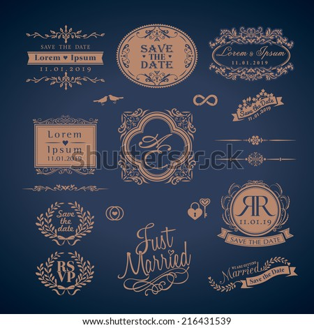 vintage style wedding monogram