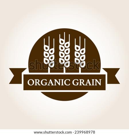 Vintage style wheat label Vector logo design template Organic grain icon
