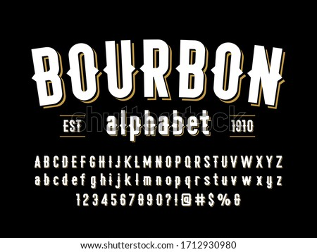 Vintage styled alphabet design with uppercase, lowercase, numbers and symbols