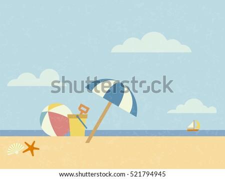 Vintage styled beach scene vector illustration with sunshade, beach ball, sand bucket, starfish