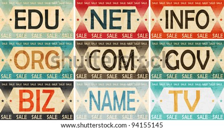 Vintage Styled Domain names Label collection