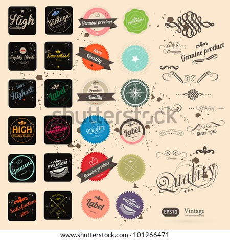 Vintage Styled Label collection design, premium and high quality - stock vector