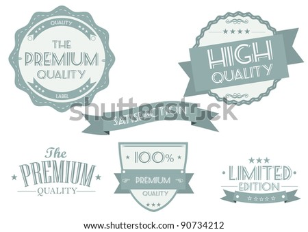Vintage Styled Premium Quality and Satisfaction Guarantee Labels