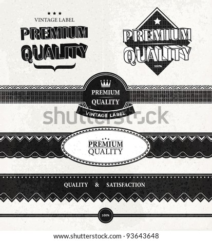 Vintage Styled Premium Quality and Satisfaction Guarantee Labels and banners collection with grungy background. Old paper texture.
