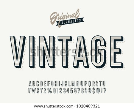 Vintage Stylish Alphabet With Striped Shadow Original Old School Retro Typeface Condensed Letters