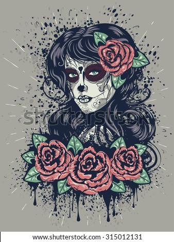 vintage sugar skull girl with