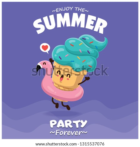 Vintage summer food poster design with vector ice cream & pink flamingo pool float characters.