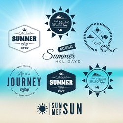 Vintage summer holidays typography design with labels logo, icons elements collection, vector background