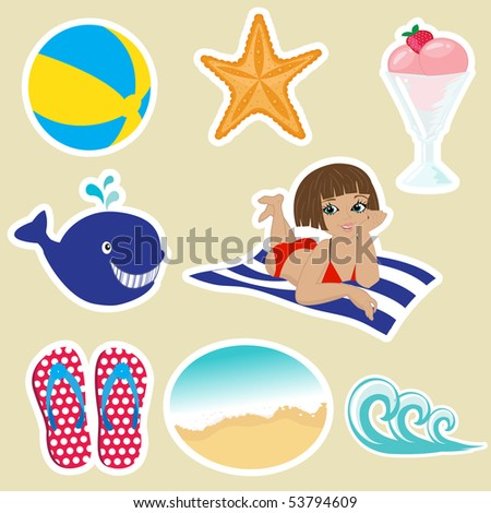 vintage summer icons vector