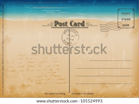 Vintage summer postcard Vector illustration.