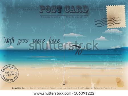 Vintage summer postcard. Vector illustration.