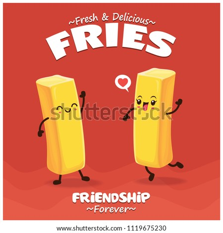 Vintage Summer poster with french fries, chips character.