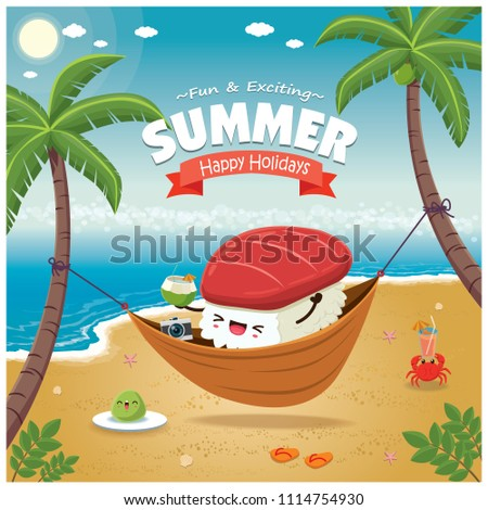 Vintage Summer poster with Maguro sushi character, sleeping net, palm tree.